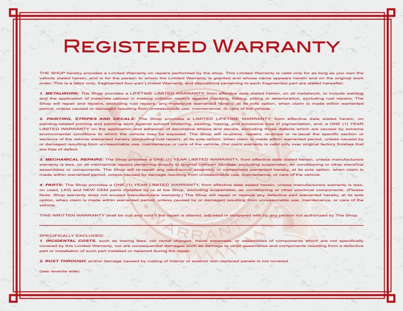Wenzel's Warranty Back